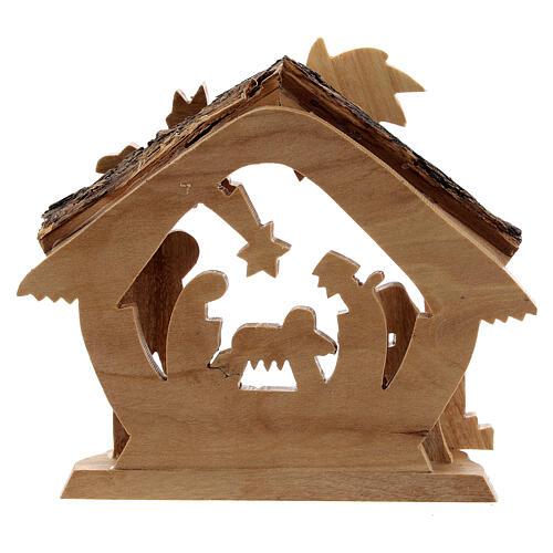 Cabaña Natividad 4 cm perfil mini madera olivo Belén 10x10x5 cm 4