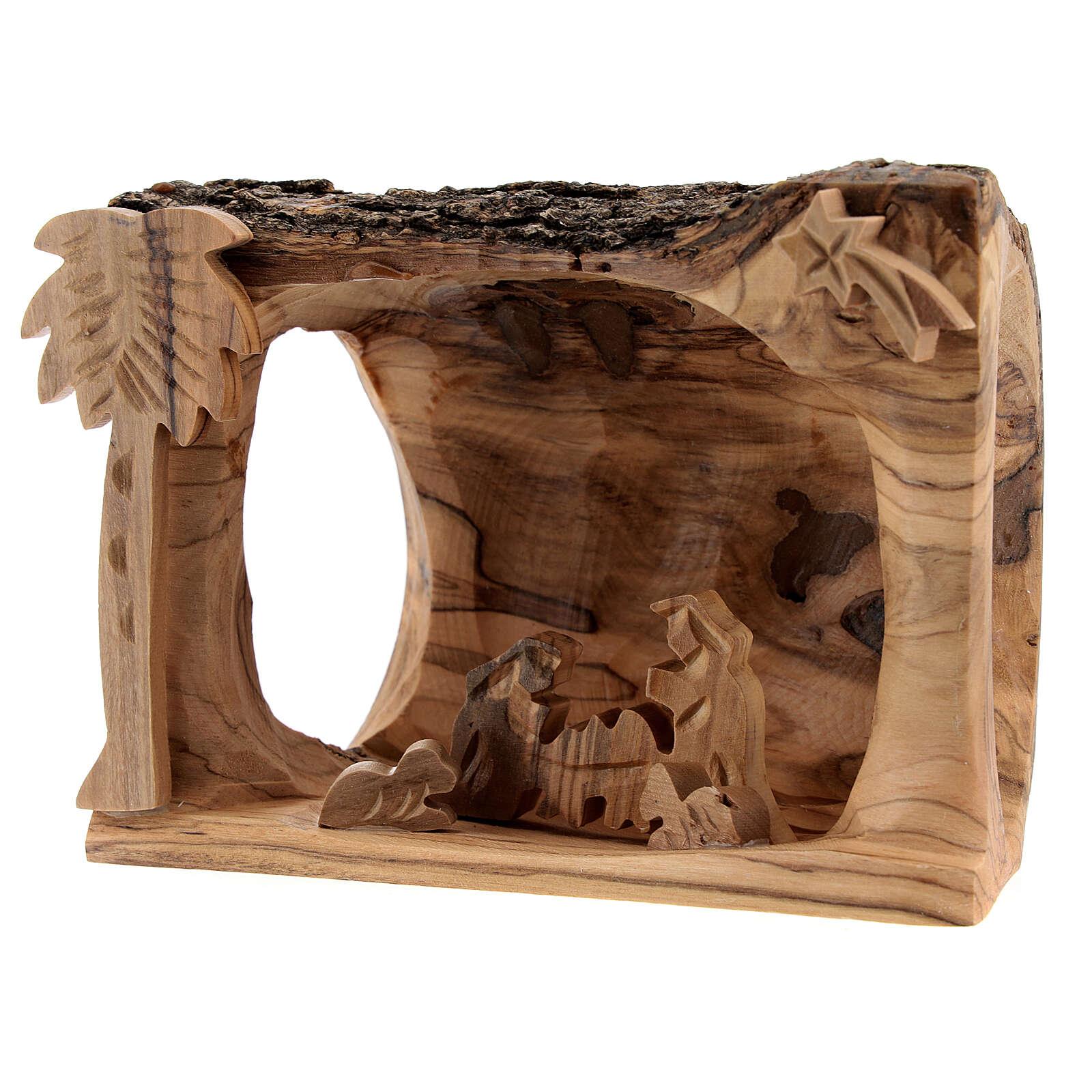 Capanna corteccia Natività 3,5 cm stilizzata legno ulivo Betlemme 10x10x5 cm 4