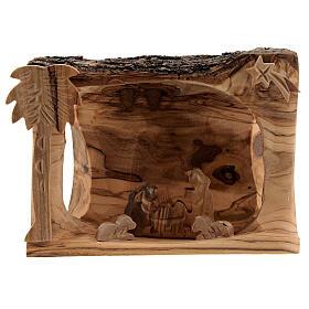 Capanna corteccia Natività 3,5 cm stilizzata legno ulivo Betlemme 10x10x5 cm s1