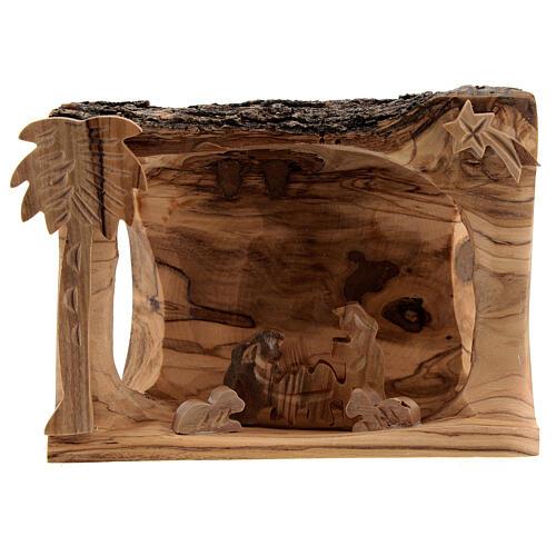 Capanna corteccia Natività 3,5 cm stilizzata legno ulivo Betlemme 10x10x5 cm 1