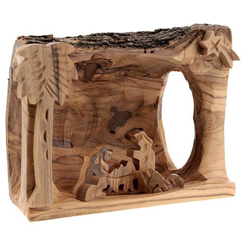 Capanna corteccia Natività 3,5 cm stilizzata legno ulivo Betlemme 10x10x5 cm 3