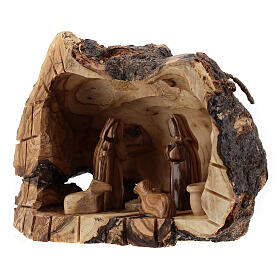 Cueva madera natural Natividad 6 cm olivo Belén 15x20x10 cm s2
