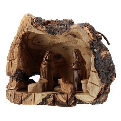 Cueva madera natural Natividad 6 cm olivo Belén 15x20x10 cm 2