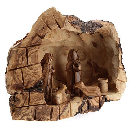 Cueva madera natural Natividad 6 cm olivo Belén 15x20x10 cm 3