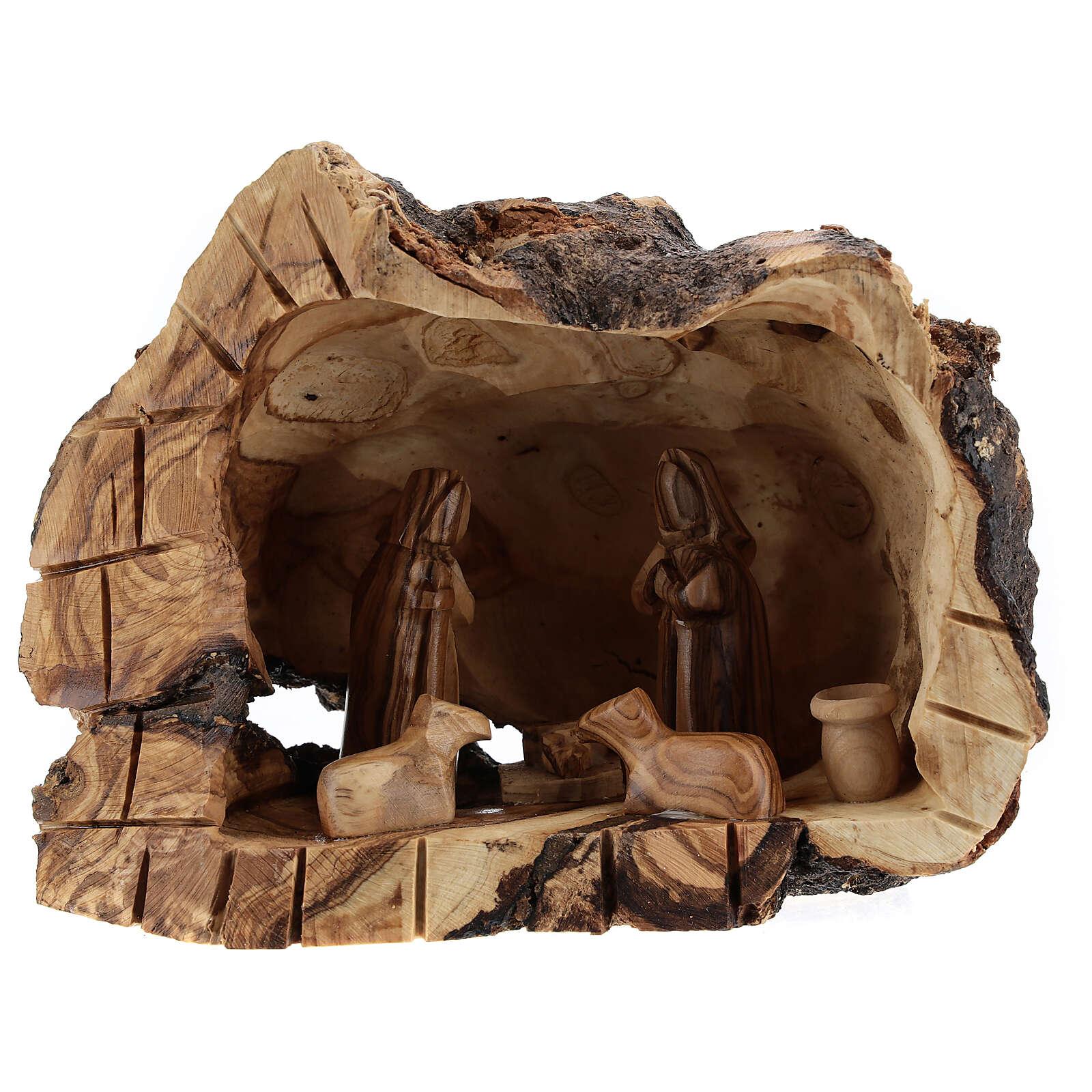 Grotte bois naturel Nativité 6 cm olivier Bethléem 15x20x10 cm 4