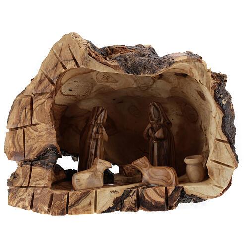 Grotte bois naturel Nativité 6 cm olivier Bethléem 15x20x10 cm 1