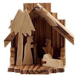 Krippenhütte aus Olivenholz Heilige Familie, 6,5 cm s1
