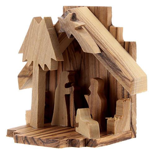 Krippenhütte aus Olivenholz Heilige Familie, 6,5 cm 2