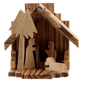 Capanna Natività sagome Sacra Famiglia legno ulivo 6,5 cm s1