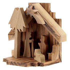 Capanna Natività sagome Sacra Famiglia legno ulivo 6,5 cm s2