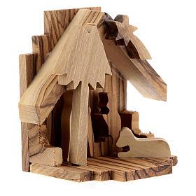 Capanna Natività sagome Sacra Famiglia legno ulivo 6,5 cm s3