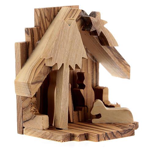 Capanna Natività sagome Sacra Famiglia legno ulivo 6,5 cm 3
