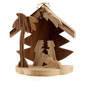 Addobbo albero silhouette Sacra Famiglia legno ulivo Betlemme 7 cm s1