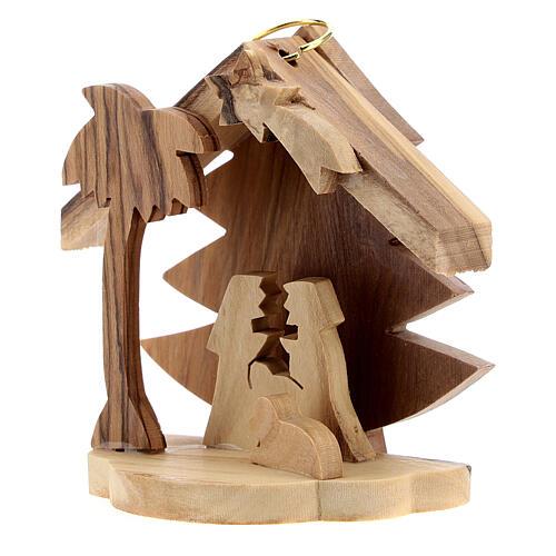 Addobbo albero silhouette Sacra Famiglia legno ulivo Betlemme 7 cm 2