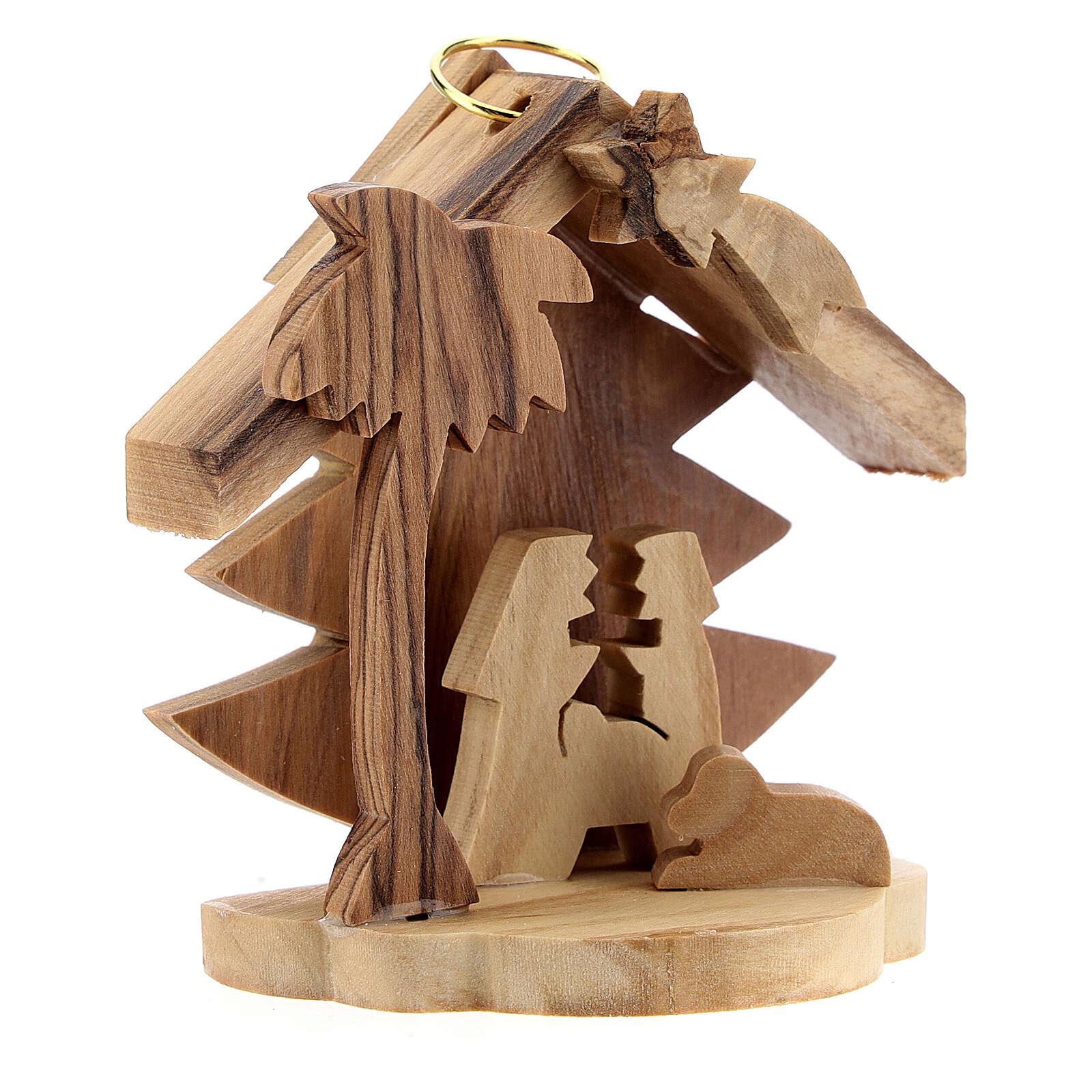 Adorno árvore de Natal silhueta Sagrada Família madeira de oliveira de Belém 7 cm 4