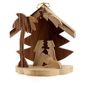 Adorno árvore de Natal silhueta Sagrada Família madeira de oliveira de Belém 7 cm s1