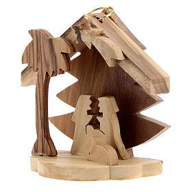 Adorno árvore de Natal silhueta Sagrada Família madeira de oliveira de Belém 7 cm s2