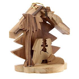 Adorno árvore de Natal silhueta Sagrada Família madeira de oliveira de Belém 7 cm s3
