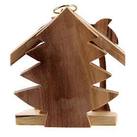 Adorno árvore de Natal silhueta Sagrada Família madeira de oliveira de Belém 7 cm s4