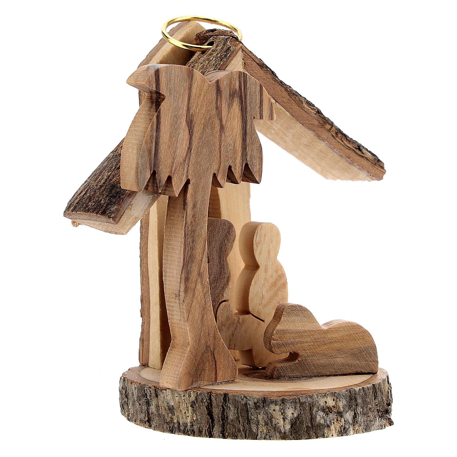 Addobbo albero legno ulivo Natività mini 6 cm 4