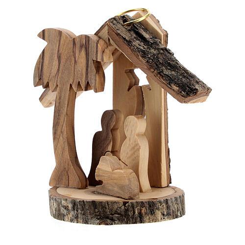 Addobbo albero legno ulivo Natività mini 6 cm 2