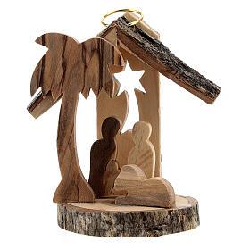 Adorno árvore de Natal silhueta Natividade mini madeira de oliveira 6 cm s1