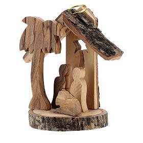 Adorno árvore de Natal silhueta Natividade mini madeira de oliveira 6 cm s2