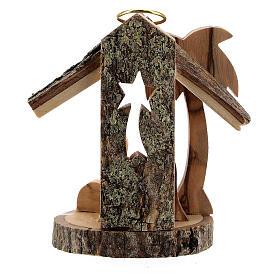Adorno árvore de Natal silhueta Natividade mini madeira de oliveira 6 cm s4