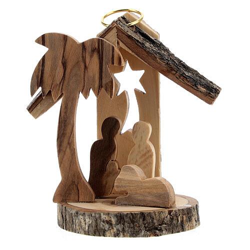 Adorno árvore de Natal silhueta Natividade mini madeira de oliveira 6 cm 1