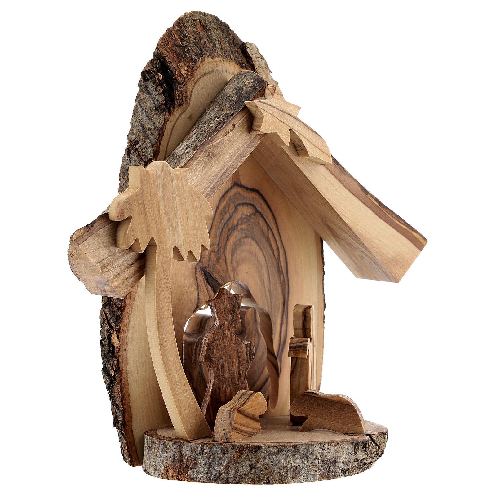 Cabaña Natividad 4 cm sección tronco olivo Belén 15x15x5 cm 4