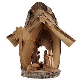 Cabaña Natividad 4 cm sección tronco olivo Belén 15x15x5 cm s1