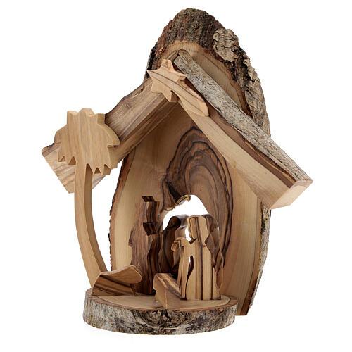 Cabaña Natividad 4 cm sección tronco olivo Belén 15x15x5 cm 2