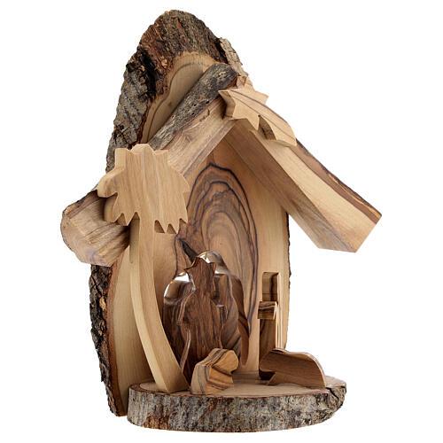 Cabaña Natividad 4 cm sección tronco olivo Belén 15x15x5 cm 3