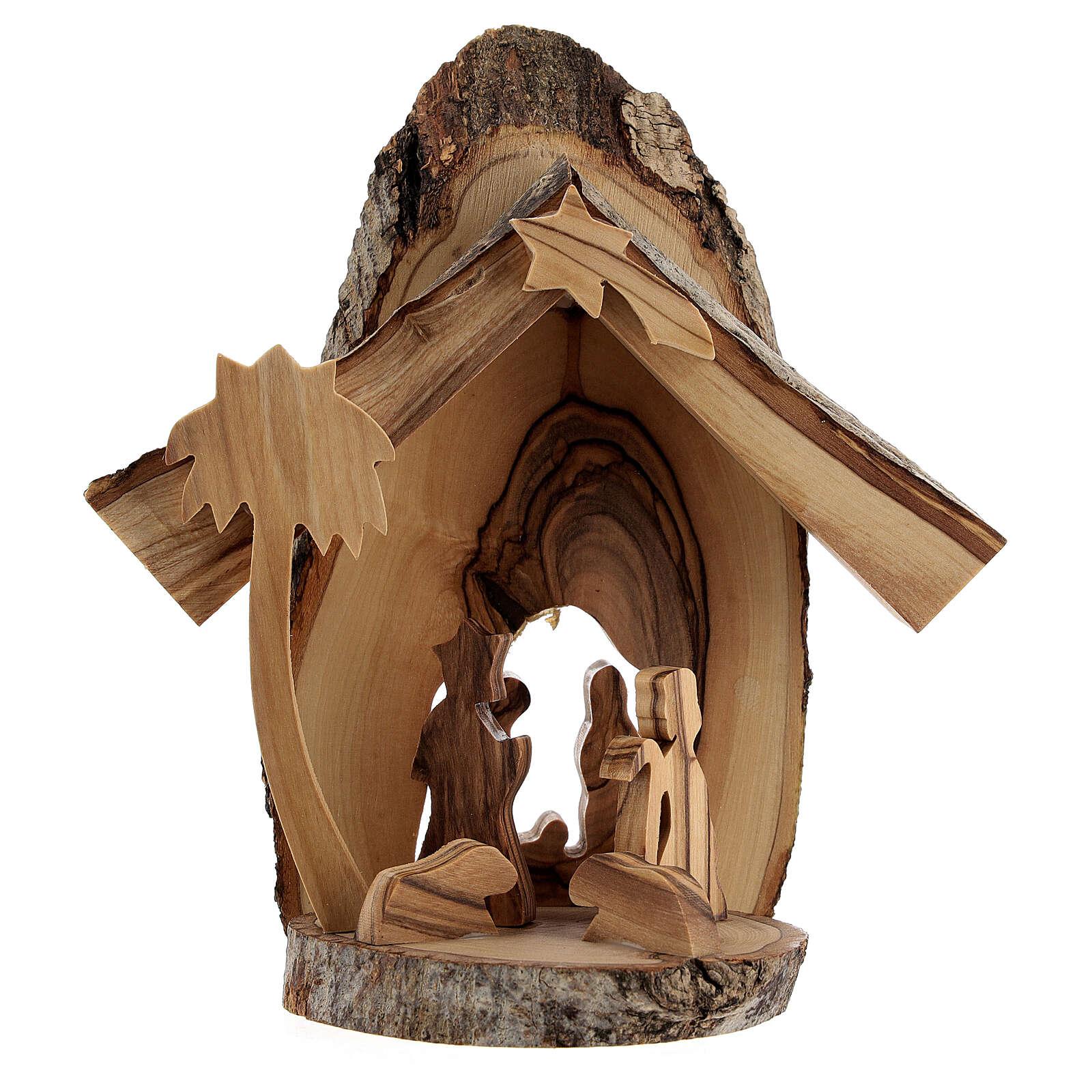 Capanna Natività 4 cm sezioni tronco ulivo Betlemme 15x15x5 cm 4