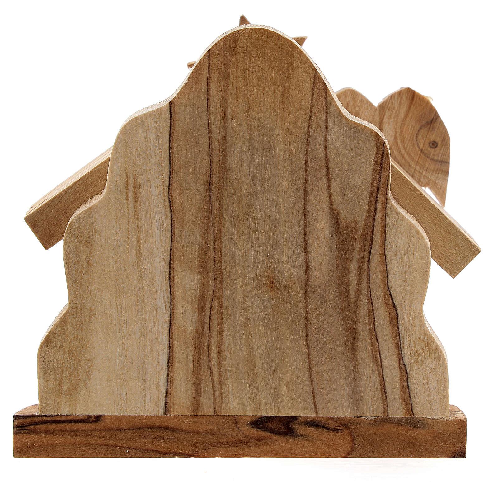 Capanna Sacra Famiglia 4 cm bue asinello legno ulivo 10x10x5 cm 4