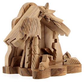Capanna Sacra Famiglia 4 cm bue asinello legno ulivo 10x10x5 cm s3