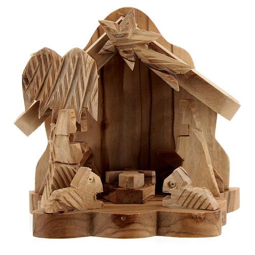 Capanna Sacra Famiglia 4 cm bue asinello legno ulivo 10x10x5 cm 1