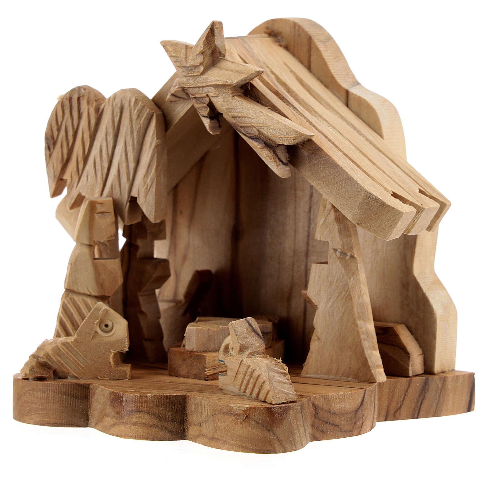 Cabana Sagrada Família com boi e burro 4 cm madeira de oliveira, 9x9x6,7 cm 4