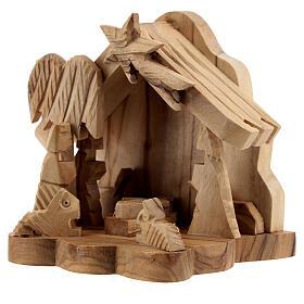 Cabana Sagrada Família com boi e burro 4 cm madeira de oliveira, 9x9x6,7 cm s2
