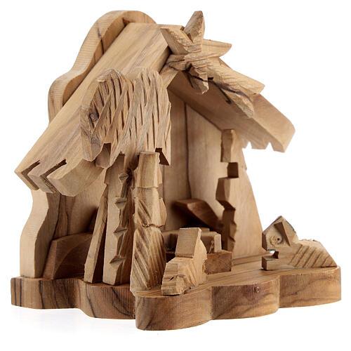 Cabana Sagrada Família com boi e burro 4 cm madeira de oliveira, 9x9x6,7 cm 3
