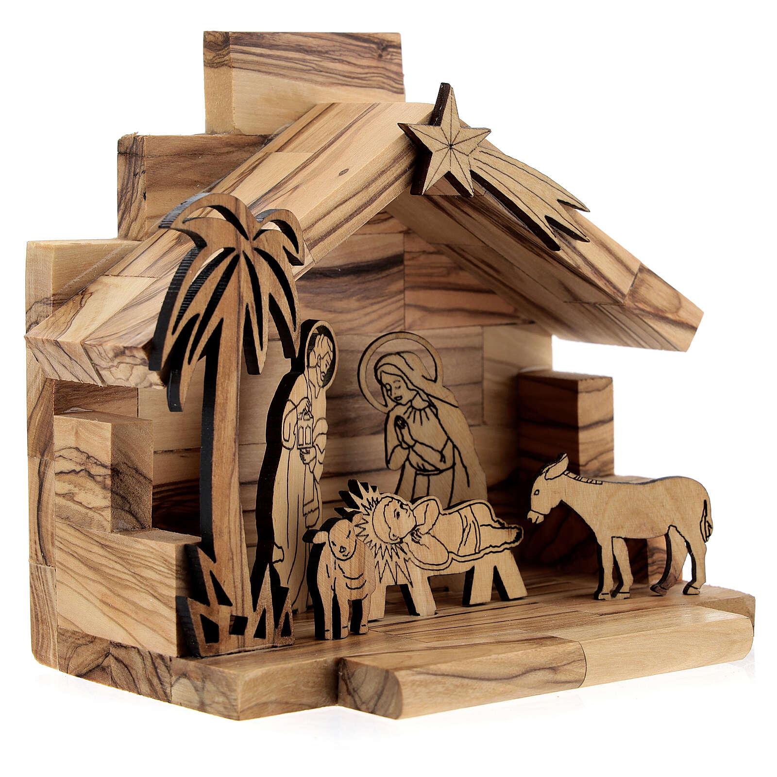 Krippenhütte aus Olivenholz zweidimensional Stil Bethlehem, 5 cm 4