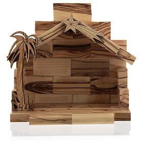 Krippenhütte aus Olivenholz zweidimensional Stil Bethlehem, 5 cm s4