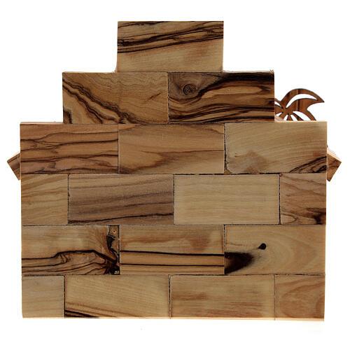 Krippenhütte aus Olivenholz zweidimensional Stil Bethlehem, 5 cm 6