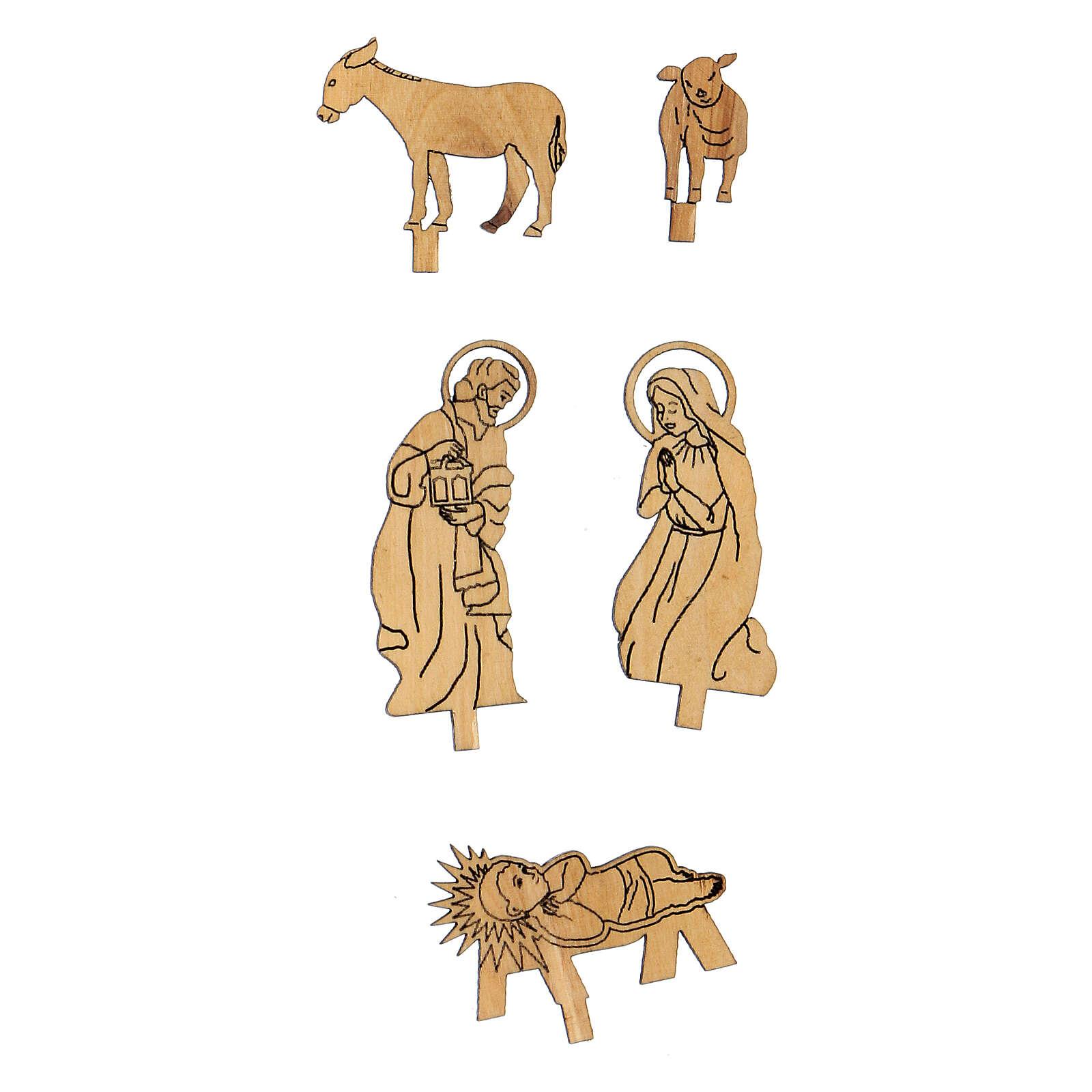 Cabane Nativité santons bidimensionnels 5 cm bois olivier Bethléem 4