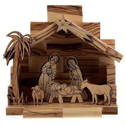 Cabane Nativité santons bidimensionnels 5 cm bois olivier Bethléem 1