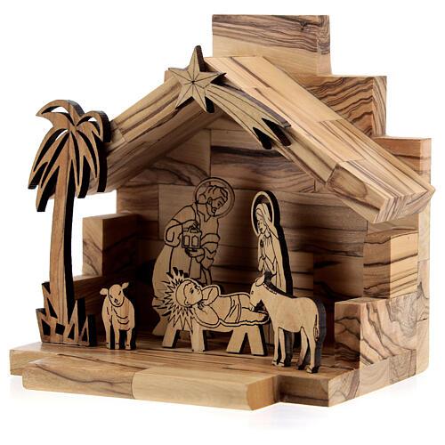 Cabane Nativité santons bidimensionnels 5 cm bois olivier Bethléem 2