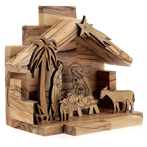 Cabane Nativité santons bidimensionnels 5 cm bois olivier Bethléem 3