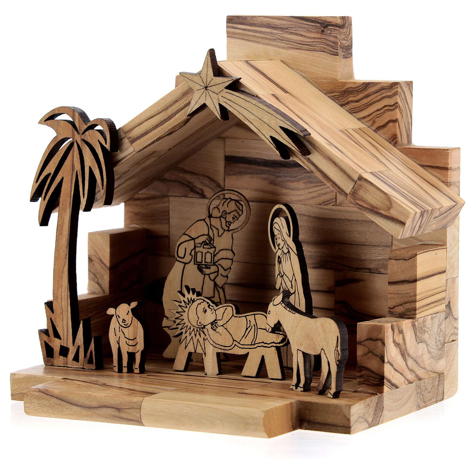Capanna Natività statue bidimensionali 5 cm legno ulivo Betlemme 4