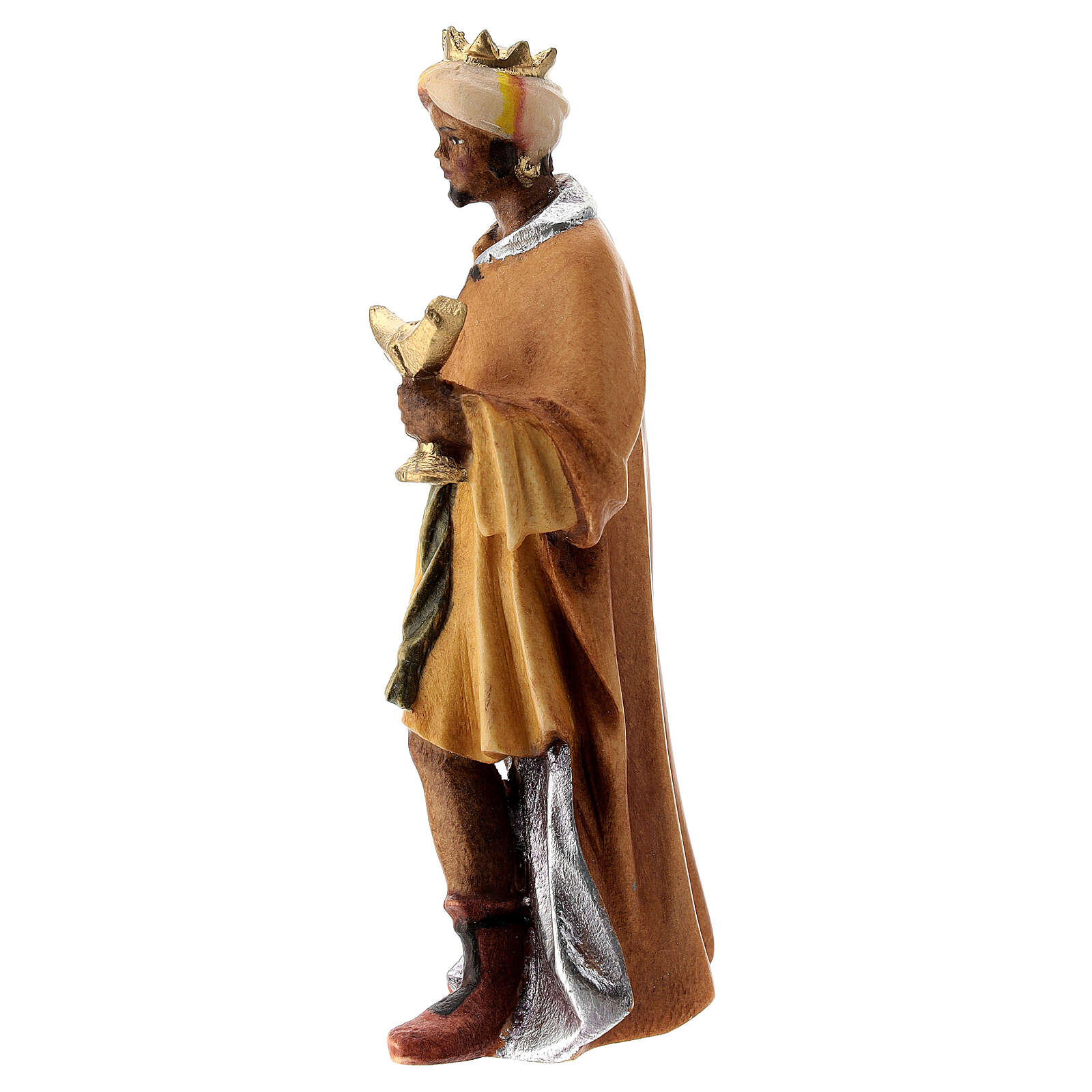 Re Magio moro presepe Raffaello 12 cm Val Gardena dipinto 4