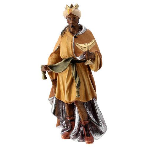 Re Magio moro presepe Raffaello 12 cm Val Gardena dipinto 1